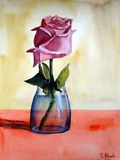 ORIGINAL AQUARELL - Rose im Glas.