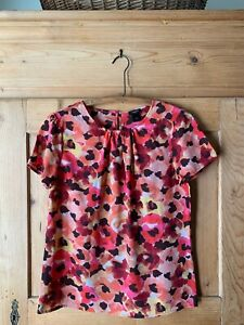 Ann Taylor~ Red, Pink, Orange, Brown Floral Shirt~ Sz S~ EUC