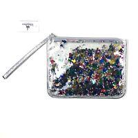 Disney Parks Wristlet Silver Metallic Mickey Mouse Confetti Pouch Bag Zip Top SJ