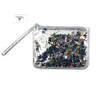 Disney Parks Wristlet Silver Metallic Zipper Mickey Mouse Confetti Pouch Bag NEW