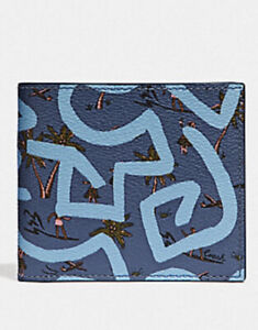 COACH-Keith Haring 'Hula Dance' Men's Coated Canvas ID Wallet Billfold Blue NWT
