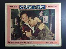 "GENE BARRY 11x14 ""CHINA GATE"" (2) CARDBOARD THEATER LOBBY CARD FILM PROMO"