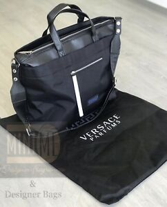 🆕💙💜VERSACE BLACK HOLDALL DUFFLE WEEKEND OVERNIGHT Travel Bag New💙💜