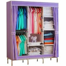 Diy Canvas Folding Clothes Storage Organiser Wardrobe Double Triple Cupboard Ek