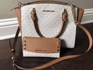 Michael Kors MK Medium Handbag Tote Vanilla Acorn Crossbody With Wallet