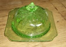 Green Depression Glass Butter Dish Adam Pattern by Jeannette