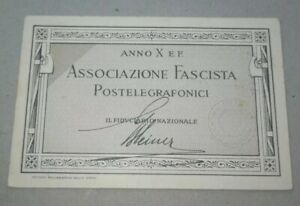 Tessera fascista PNF associazione postelegrafonici Sassari Sardegna Fascismo ww2