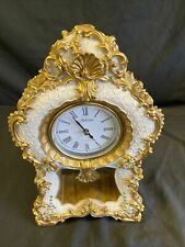 More details for vintage classical style juliana quartz mantel clock chintz gold ornate - (7722)