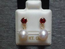 Exclusive Granat & Perlen Ohrstecker - 14 Kt. Gold - 585 - Ohrringe - sehr edel
