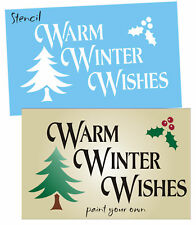 Joanie Christmas Stencil Winter Wishes Lodge Tree Holly Mistletoe Prim Signs