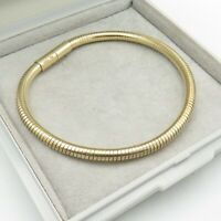 """925 Sterling Silver Bracelet Snake Chain Gilded Magnetic Clasp Gemporia 7.5"""" 4mm"""