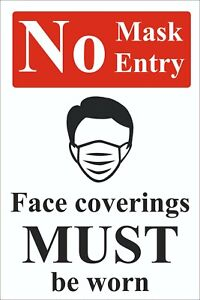No Mask No Entry Rigid Plastic warning safety sign 300mm x 400mm