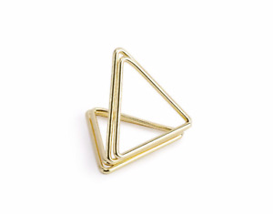 10 Gold Metal Triangle Place Card Holders, Place Name Holder Stand, Place C