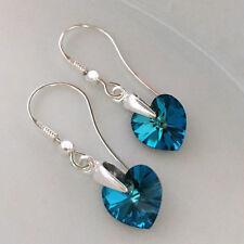 Hook Earrings Swarovski Elements CRYSTAL HEART 10 mm BERMUDA BLUE Sterling Silve