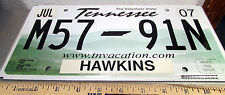 Tennessee License Plate, M57 91N, ex 2007, the Volunteer state, w hologram