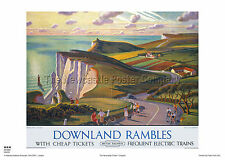 SUSSEX SOUTH DOWNS RETRO VINTAGE RAILWAY TRAVEL POSTER RAIL ADVERITISNG ART