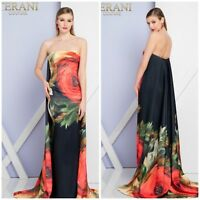 NWT TERANI COUTURE 1721E4167 STRAPLESS PRINTED BLACK MULTI GOWN WITH CAPE BACK