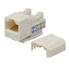 100 Pcs Cat5e Keystone Jack White Network Ethernet 110 Punchdown 8p8c