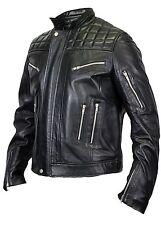 Herren Stepp Leder Jacke aus Lammleder Biker Motorrad Chopper Rocker Gesteppt