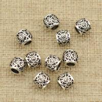 10pcs Dread Lock Dreadlocks Braiding Beads Silver Cuffs Tube Hair Accessories