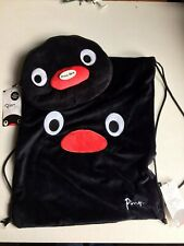 PINGU BLACK PLUSH DRAWSTRING BAG AND PENCIL CASE, BRAND NEW.