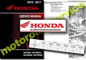 Honda NC750 NC700 Service Manual 2016 2017 Workshop NC700X NC750X XA XD SHOP DCT