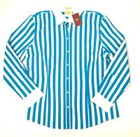 R M Williams Womens Semi Fitted Long Sleeve Blue & White Striped Shirt Size 18
