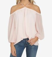 1. State Womens Blouse Pink Taffeta Size Small S Halter Off-Shoulder $79- 126