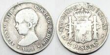 ESPAÑA ALFONSO XIII 1889 MPM 2 PESETAS MONEDA PLATA BC Escasa