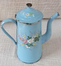 Antique vintage enamel French coffee pot