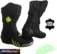 BLACK HiViz MENS SPEED MAXX MOTORBIKE MOTORCYCLE CE RACING LEATHER SHOES BOOTS