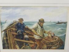 Original Watercolour of Crab Fishermen off Cromer by Bejeine (Newlyn style)