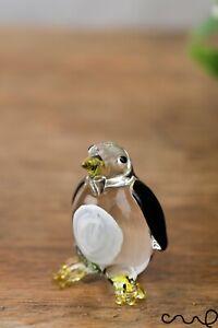NEW Tiny Handmade Little Glass Penguin Gloss Garden Decor Ornament Cute