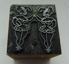 Vintage Printing Letterpress Printers Block 2 Dancing Women