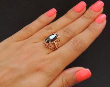 Vintage USSR Russian Solid ROSE Gold 14K Womans Ring Garnet Gemstone Size 6.5