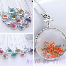 Round Transparent Glass Dried Flower Pendant Necklace Handmade Fashion Jewellery