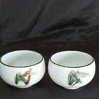 "Vintage Saki Cups White Speckled Green Leaves Black Rim 3x""x3""x2-1/4"" Preowned"