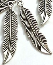 6 Feather Charms Antique Silver Pewter Bohemian Boho Pendants 46x10mm