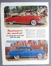 10x14 Original 1949 Studebaker Commander Convertible, Champion Starlite Coupe Ad