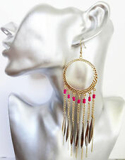 SeXy Beaten Gold Tone Hoop Dangle Drop Earrings with Fringe and Neon Pink Beads