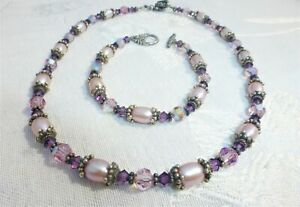 WONDERFUL STERLING SILVER NECKLACE Bracelet Set with Pearls Purple Crystals