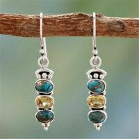 Boho Tibetan 925 Silver Turquoise Dangle Drop Hook Earring Women Popular Jewelry