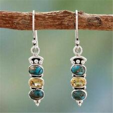 Boho Tibetan 925 Silver Turquoise Dangle Drop Hook Earring Women Jewelry Newly