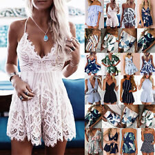 UK Womens Holiday Romper Mini Playsuit Ladies Summer Shorts Jumpsuit Dress 6-20