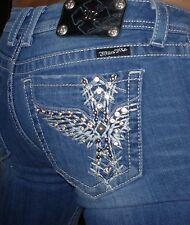 Buckle Miss Me Jeans Boot Stretch Bling Rhinestone Angel Cross Women's Sz 30