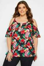 Women's PLUS SIZE 24/26/30/32 top BLACK FLORAL cold shoulder NEW red blouse