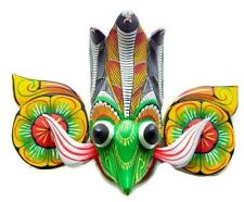 Handmade Wood Face Painted Wall Hanging Decorative Cobra Bird Decorative Mask 6""