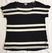 Splendid Black And White Striped Cap Sleeve Top Sz M. *NWOT*