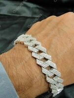 """Men's Classic New Style Cuban Link Bracelet 8"""" in 14k White Gold Plated Silver"""