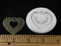 Vines Scroll Heart Polymer Clay Mold (#MD1379)